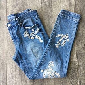 WHBM Floral Embroidered Girlfriend Jeans